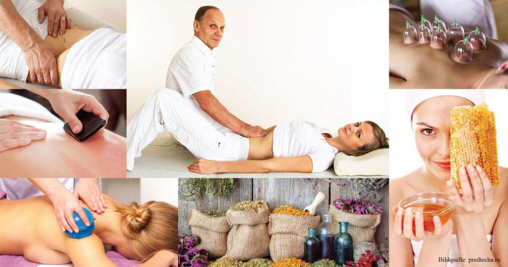 Manuelle Therapie / Viszerale Therapie / Viszerale Bauchmassage, der inneren Organe, nach Prof. Ogulov / Oгулов; Klatschdynamische Massage nach Maksimov; Hirudotherapie / Blutegeltherapie